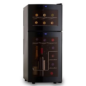 Wine Enthusiast Silent 21 Bottle Dual Zone Wine Refrigerator with Curved Doors For Sale