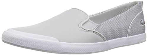(Lacoste Women's Lancelle Slip Sneaker, Silver Leather, 10 Medium)