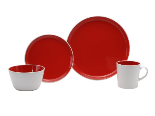 Oneida Color Burst Very Cherry 16-Piece Dinnerware Set, Service for 4