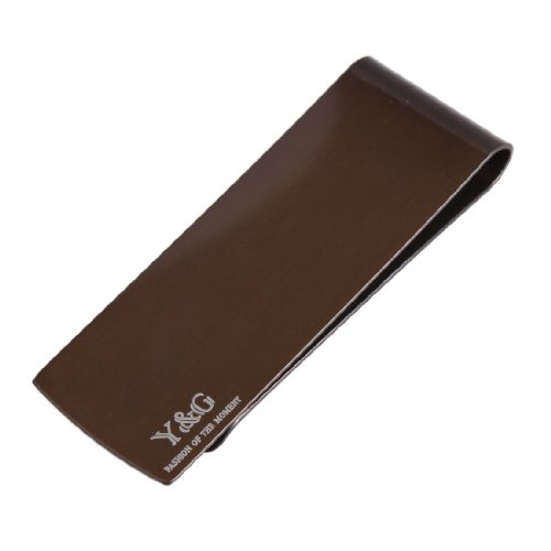 MC1035 Work-utility Mens Chocolate Saddle Brown Rectangle Stainless Steel Money Clip Gift for Marriage By Y&G