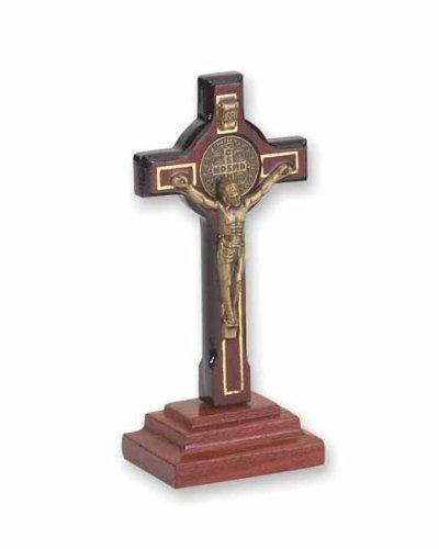 Catholica Shop Saint Benedict Table Cross San Benito Cherry Wood | Standing Religious Crucifix | 2.8 -