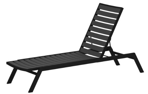 POLYWOOD AC1FABGY Euro Chaise, Textured Black/Slate Grey