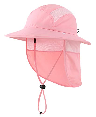 Home Prefer UPF 50+ Girls Sun Protection Hat with Neck Flap Summer Beach Hat Toddler Bucket Hat (Pink)