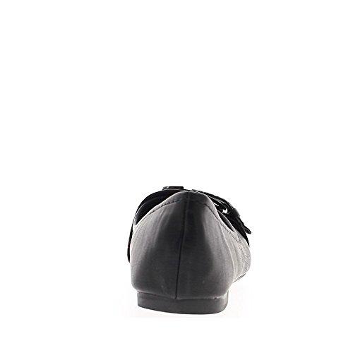 femme 5cm Ballerines talon noires 0 avec boucle fw6xdUS
