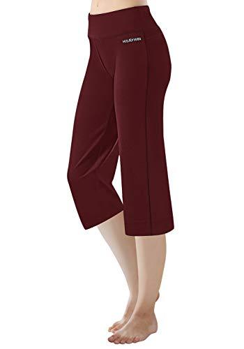 HISKYWIN 17'/23'/27'/29'/31'/33'/35' Inseam Capri/Petite/Regular/Tall Length Women's Straight Leg Yoga Pants Zip Pocket HF604-Bordeaux-XXL