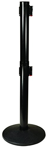 (Visiontron 301D-BA-BK Dual Line Post w/ 10' Retracta-Belt, Black with Black Belt)