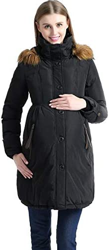 Momo Maternity Outerwear Lily Hooded Cinch Waist Down Parka Coat Pregnancy Winter Jacket