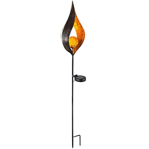 hullonguuo Solar LED Flame Light, Wrought Iron Torch Lights, Waterproof Garden Lamp (2)