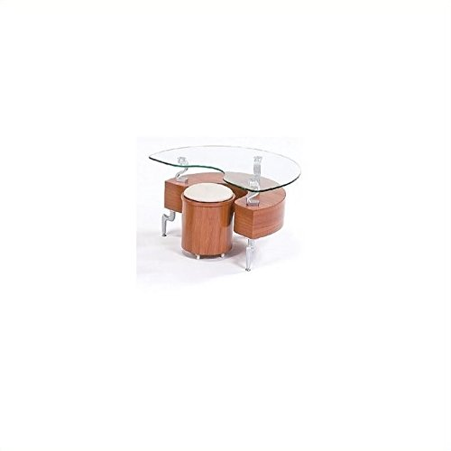 (Global Furniture Cherry Occasional End Table with Silver Legs)