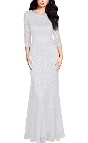 REPHYLLIS Women's Retro Floral Lace Vintage Bridesmaid Wedding Long Dress (Medium, White)