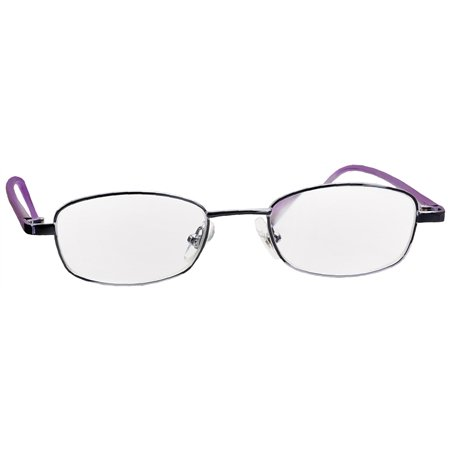 Foster Grant Spare Pair Silver/Purple Metal Reading Glasses +2.25