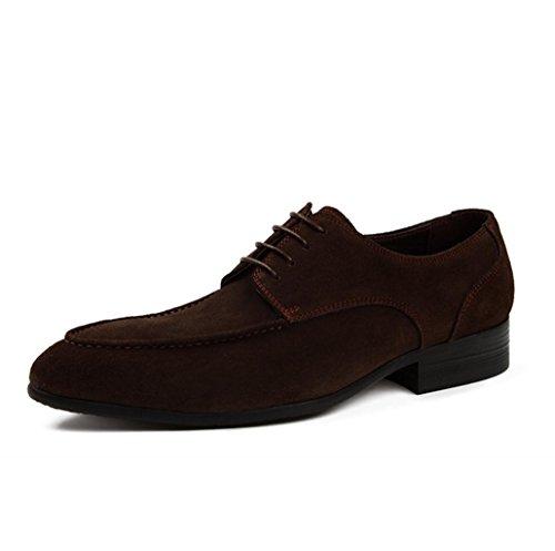 Heart&M helado de cuero genuino de negocios ocasionales de los hombres zapatos de cuero del ante coffee