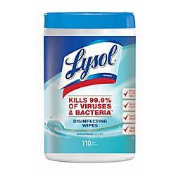 Lysol(R) Disinfecting Wipes, Ocean Fresh, 7in. x 8in, White, Canister Of 110 Wipes 110 Wipes