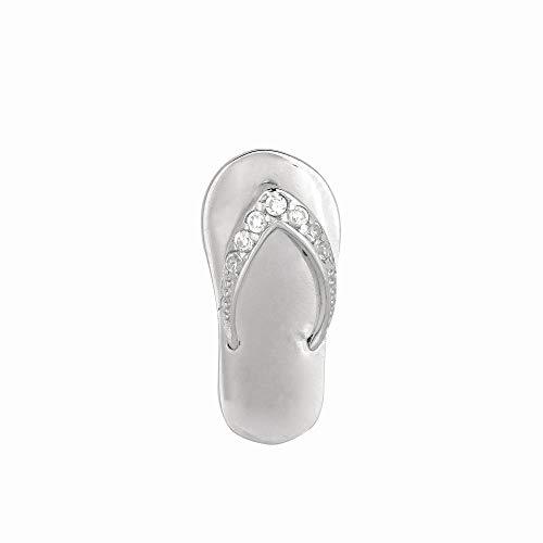 Sterling Silver Rhodium Plated Cubic Zirconia Shiny Flip Flop Slide Pendant
