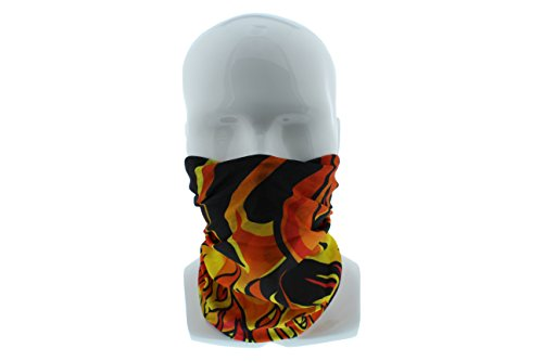 Redneck Convent Orange Flames Seamless Wide Tube Bandana Balaclava Face Mask for Men & Women – Paintball, Ski, Dust, Costume, Motorcycle ()