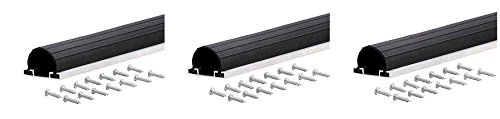 M-D Building Products 87643 9-Feet Universal Aluminum and Rubber Garage Door Bottom, Black (3 PACK)