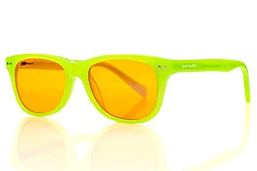 Blue Light Blocking Glasses for Kids – Swannies Gamer and Computer Eyewear for Children - Deep Sleep - Digital Eye Strain Prevention - FDA Registered Company - Swanwick Sleep (Green) Kids