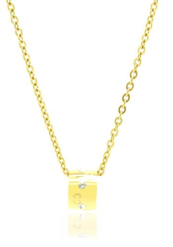 24k Gold Inlay - Chelsea Jewelry Private Collections 24K Yellow Gold Cylindrical Pendant Inlay with Swarowski Elements. 18 Inches Flat Cable Chain is Provided.