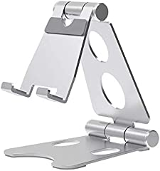 TyCom Desktop Cell Phone Stand, Double Adjustable Mobile Phone Tablet Holder, Aluminum Portable Desk Stand for iPhone...