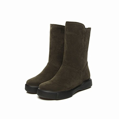 Mee Shoes Women's Warm Snow Slip On Platform Mid Calf Boots Army Green VBB5E