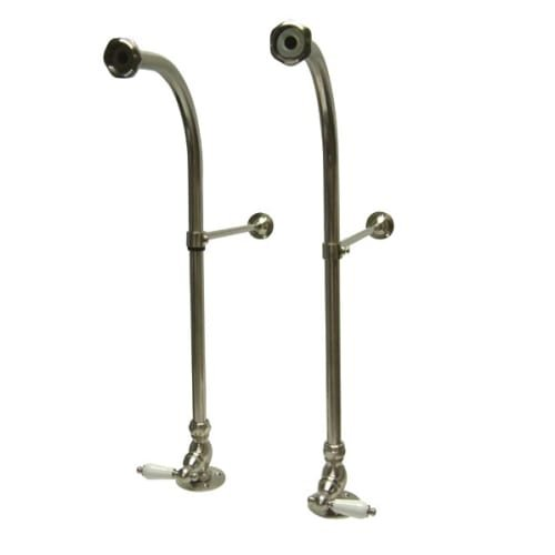 (Kingston Brass CC458PL Vintage Freestanding Water Supply with Stop, Adjustable Height Wall Brace, Satin Nickel)