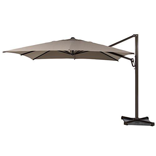 Square Garden Parasol (Abba Patio 10-Feet Offset Cantilever Umbrella Outdoor Patio Umbrella Square Parasol Infinite Tilt Position with Cross Base and Umbrella Cover, Tan)