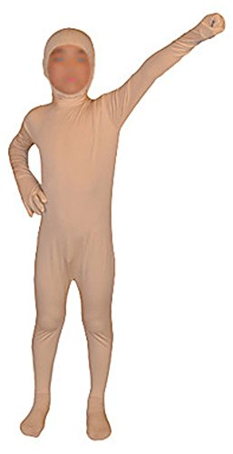 Seeksmile Kids Costume Full Body Lycra Zentai Suit Face Open (Kids Medium, Nude)
