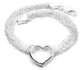 Sterling Silver Multi Strand Chain and Open Heart Bracelet - - Bracelet Open Strand Heart