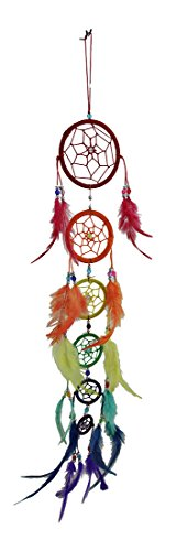 Zeckos Rainbow Row 6 Tier Colorful Beaded Feather Dreamcatcher