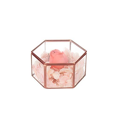 Feyarl Vintage Jewelry Trinket Glass Box Ornate Ring Earring Box Preserved Flower Glass Box Decorative Box (Copper) ()