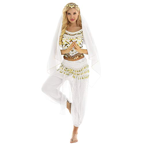 inlzdz Women's Belly Dancing Fancy Dress Halloween Carnival India Dance Performance Costume Outfit White One Size]()