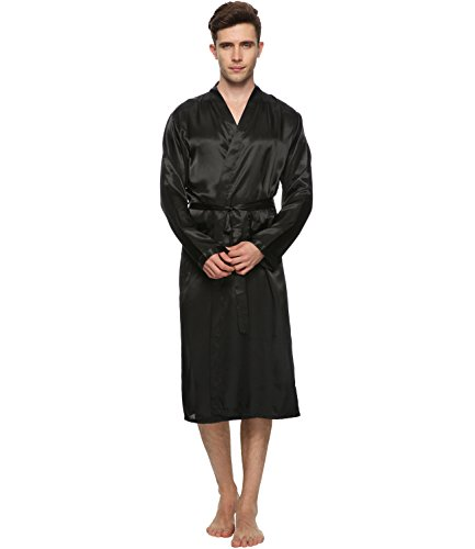FAYBOX Men Satin Robe Long Bathrobe Lightweight Sleepwear Black L (Male Robes)