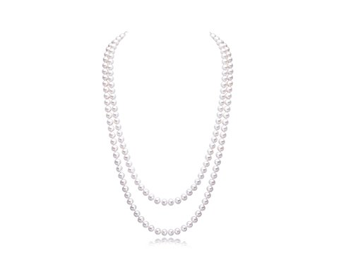 JYX 8mm Natural White Round Freshwater Pearl Necklace Long Sweater Necklace 49