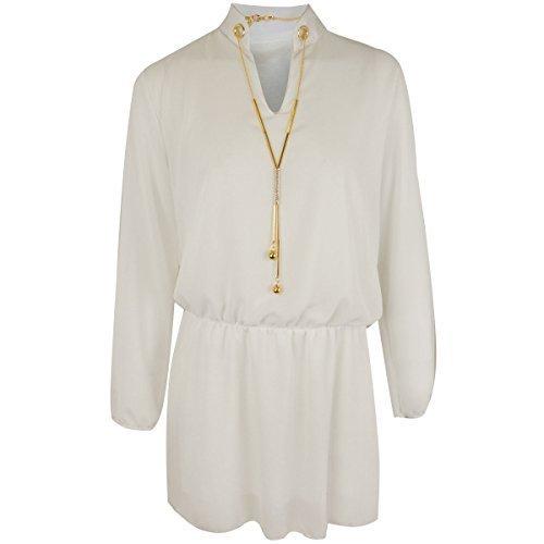 Mujer Blusa Chifón Manga Larga Damas Vestido camisero Holgado Corto Top casual Talla - Blanco,