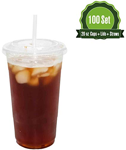 (Plastic Cups with Lids and Straws [ 20oz -100 Sets ] Clear Disposable Cups Ideal for Iced Coffee, Juice, Bubble Boba, Smoothie, Soda, Cocktail Party and Tea etc (100 Cups)