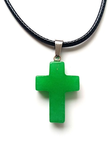 (AIMITH Natural Agate Crystal Gemstone Rock Cross Pendant Leather Rope Guard Necklace Stone Jewelry (Malay Green Jade))