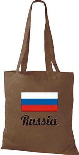 ShirtInStyle Bolso de mano Bolsa de algodón Yute de país Rusia Rusia - fucsia, 38 cm x 42 cm marrón medio