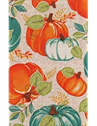 Mainstream International Autumn Harvest Orange and Blue Pumpkins with Vine Leaves Vinyl Flannel Back Tablecloth (52