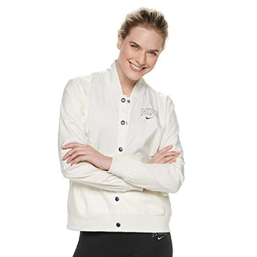 (Nike Women's Sportswear Varsity Jacket (Cream, Medium))