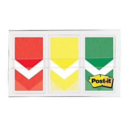 Post-it(R) Arrow Flags, 1in, Prioritization, Stoplight Colors, 20 Flags per Pad, Pack of 3 Pads