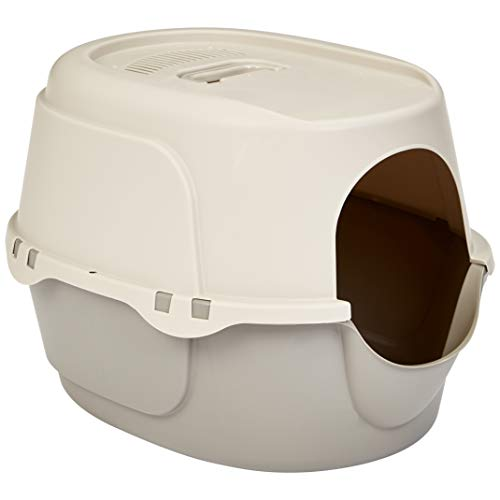 AmazonBasics Hooded Enclosed Cat Litter Box With No Door - 20 x 17 x 26 Inches, Beige (Small Enclosed Cat Litter Box)