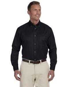 Harriton Mens Tall Easy Blend Long-Sleeve Twill (M500T) -BLACK -XLT - Harriton Mens Easy Blend