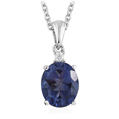Blue Tanzanite Quartz White Topaz Solitaire Chain Pendant Necklace Jewelry for Women 20� Ct 3.5