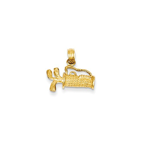 14k Yellow Gold Solid 3 Dimensional Golf Bag Clubs Pendant Charm Necklace Sport Fine Jewelry For Women Gift Set