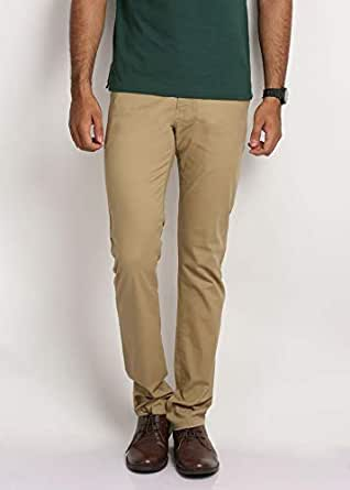 STING Beige Slim Fit Trousers Pant For Men