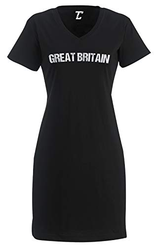 Tcombo Great Britain - Soccer Futbol Sports Women's Nightshirt (Black, Large/X-Large)