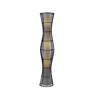 Adesso Home 4087-01 Transitional Three Light Floor Lamp from Aloha Collection Finish, 11.00 inches, Black Rattan