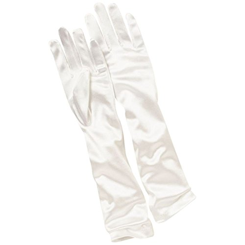 Girls Elbow-Length Satin Gloves Style KENZIE, White, XS from David's Bridal