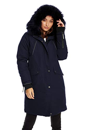 Alpine North Womens Vegan Down Long Parka Winter Jacket, Navy, L