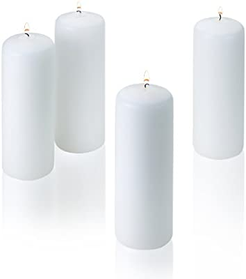 Amazoncom Light In The Dark White Pillar Candles Set Of 4